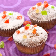 Stock Photo: Set of sugary muffins cupcake