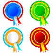 Set of ribbon rosette awards - Stock Photo