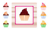 Set of cupcakes with sample label — Stock Photo