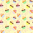 Sweet seamless background with cupcakes — Stock Photo