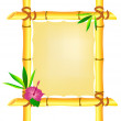 Bamboo frame with hibiscus flower and leaves — Stock Photo