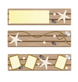 Set of banners with seastar, rope, stones on deck background — Foto Stock
