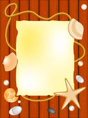 Seashell, stone, seastar, paper on deck background — Stock Photo