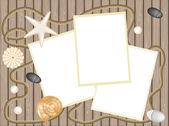 Seashell, stone, seastar on deck background — Stock Photo