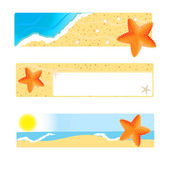 Set of banners with seastar on sand and sea background — Stock Photo