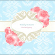 Stock Photo: Wedding blue seamless background with flower