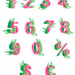 Pink pattern numbers with green leaves — Stock Photo