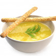 pumpkin soup and breadsticks with sesame — Stock Photo