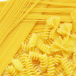 Closeup of  italian pasta farfalle spaghetti — Stock Photo