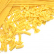 Closeup of italian pasta farfalle spaghetti — Stock Photo #9657287