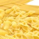 Closeup of frame of italian pasta farfalle spaghetti — Stock Photo