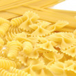 Closeup of frame of italian pasta farfalle spaghetti — Stock Photo