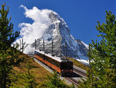 Matterhorn with railroad and train — Stock Photo
