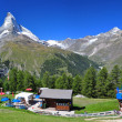 Stock Photo: Matterhorn peak and chalet