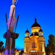 Night view of Orthodox cathedral from Cluj Napoca — Stock Photo