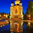 Night view of Orthodox cathedral from Cluj Napoca - Stockfoto