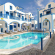 Traditional family hotel in Perisa, Santorini, Greece - Stock Photo