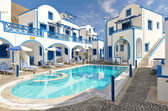 Traditional family hotel in Perisa, Santorini, Greece — Stock Photo