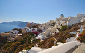 Gardens and traditional buildings in Oia, Santorini, Greece — Stock Photo