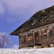 Stock Photo: Abandoned wooden cottage in wintry view