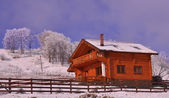 Wooden chalet in wintry view — Stock Photo