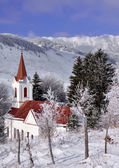 Local church from Sirnea village near Piatra Craiului mountain, in Romania — Stock Photo