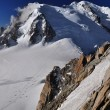 Cosmique route to the summit of Mont Blanc - Stock Photo