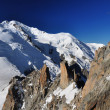 Stock Photo: Mont Blanc viewed from Aiguille du Midi, Alps