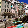 Stock Photo: Canoes in Riomaggiore