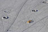 Mont blanc basiskamp vanuit de aiguille du midi — Stockfoto