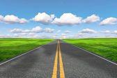 The road stretches into the distance — Stock Photo