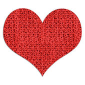 Red woolen heart — Stock Photo