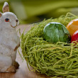Easter bunny with Painted Ester egg — Stock Photo