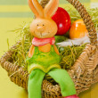 Easter bunny with Painted Ester eggs — Stock Photo