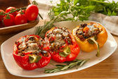 Baked stuffed red bell pepper — Stock Photo