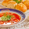 Russian-ukraine cuisine - borsch — Stock Photo