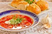Russian-ukraine cuisine - borsch — Stock Photo