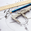 Mechanical drawing and tools — Stock Photo #9982864