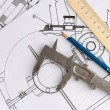 Stock Photo: Mechanical drawing and tools