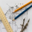 Tools on the background of technical drawings — Stock Photo