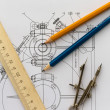 Tools on the background of technical drawings — Stock Photo #9982880