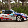 MARINHA GRANDE, PORTUGAL - APRIL 14: Julio Maia drives a Peugeot 206 S1600 during Rally Vidreiro 2012, integrated on Open Championship in Marinha Grande, Portugal on April 14, 2012. — Стоковая фотография