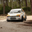 MARINHA GRANDE, PORTUGAL - APRIL 14: Nuno Martins drives a Opel Kadett during Rally Vidreiro 2012, integrated on Open Championship in Marinha Grande, Portugal on April 14, 2012. — Zdjęcie stockowe