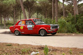 MARINHA GRANDE, PORTUGAL - APRIL 14: Carlos Neves drives a Datsun 1200 during Rally Vidreiro 2012, integrated on Open Championship in Marinha Grande, Portugal on April 14, 2012. — Stock Photo