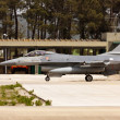MONTE REAL, PORTUGAL-APRIL 7: Portuguese F16 taxing. Participating in Real - Stock Photo