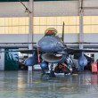 Stock Photo: MONTE REAL, PORTUGAL-APRIL 7: F-16 Portuguese on hangar for maintenance on