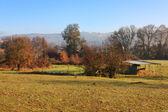 Malé farmě v ranní — Stock fotografie