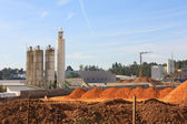 A group of processing silos of a concrete factory — Stock Photo