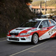 CASTELO BRANCO, PORTUGAL - MARCH 10: Diogo Salvi drives a Mitsubishi Lancer EVO VII during Rally Castelo Branco 2012, integrated on Open Championship in Castelo Branco, Portugal on March 10, 2012. — Foto Stock