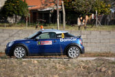 CASTELO BRANCO, PORTUGAL - MARCH 10: Ricardo Pórem drives a Mini during Rally Castelo Branco 2012, integrated on Open Championship in Castelo Branco, Portugal on March 10, 2012. — Foto de Stock